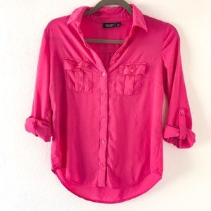 A.n.a. Top blouse pink button down shirts size SP